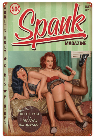 bettie-page-spank-metal-sign